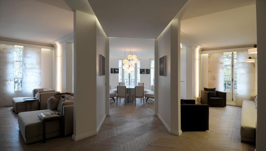 appartement haussmanien face la tour eiffel lustres et. Black Bedroom Furniture Sets. Home Design Ideas